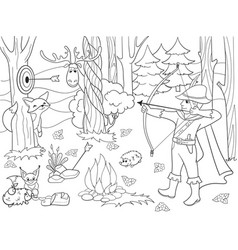 children coloring arrow in the forest with vector image