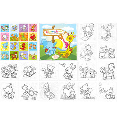 Coloring book - cute animals collection vector
