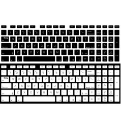 Computer keyboard isolated black and white vector