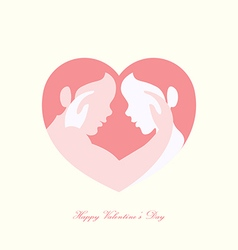 Couple caressing in heart shaped silhouette vector image