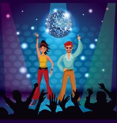 Couple of disco dancers vector