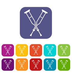 Crutches icons set flat vector