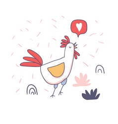 cute cartoon rooster with love emoji doodle vector image