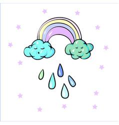 Cute rainbow clouds sun raining drops pastel vector