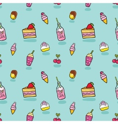 cute seamless pattern with ice cream soda cake vector image