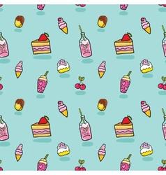 Cute seamless pattern with ice cream soda cake vector