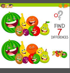 Differences game with fruit characters vector