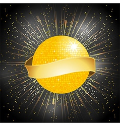 Disco ball with banner on star burst background vector