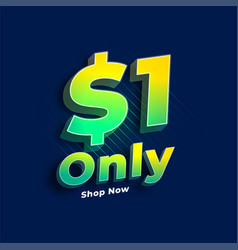 Dollar one only sale banner vector