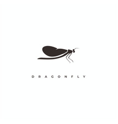dragonfly silhouette logo design vector image