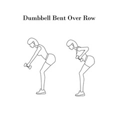 Dumbbell bent over row exercise outline vector