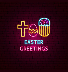 Easter greetings neon label vector