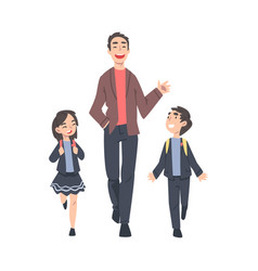 father taking his son and daughter wearing uniform vector image