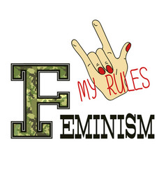 Feminism slogan fashion camouflage print vector
