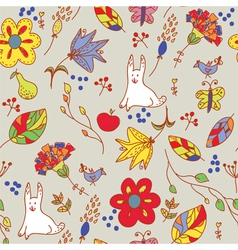 Floral retro seamless pattern with hare vector image