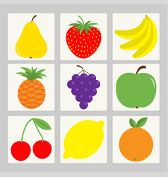 Fruit berry icon set square shape pear strawberry vector
