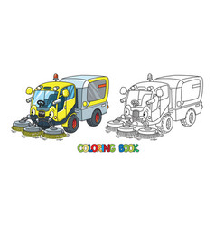 Funny small sweeper car with eyes coloring book vector