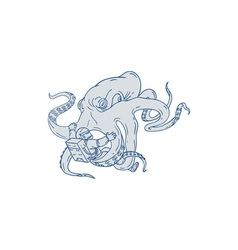 Giant Octopus Fighting Astronaut Drawing vector