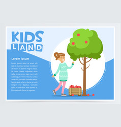 girl picking apples in garden eco concept vector image