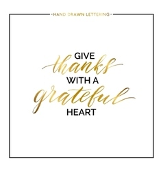 Give thanks gold lettering isolated on white vector image
