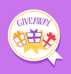 Giveaway contest banner with gift box trio in vector