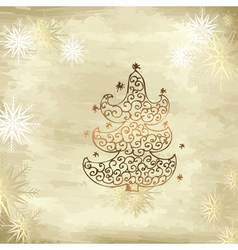 golden tree christmas vector image