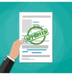 Hand holds approved paper document vector