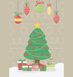 hanging light tree and gift boxes celebration vector image