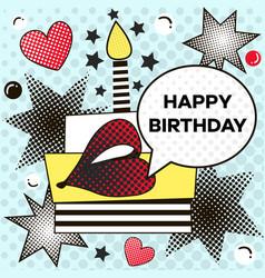 Happy birthday background in pop art style vector