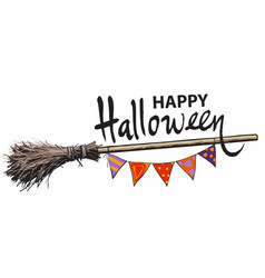 Happy halloween hand drawn lettering old magic vector