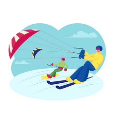 happy snowboarder and skier with kite riding vector image