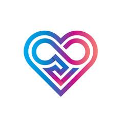 Heart classic geometric logo template infinity vector