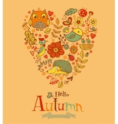 Hello Autumn banner in doodle style vector