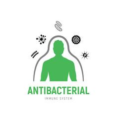 Immune system icon logo health anti vector