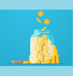 jar with gold coins dollar coin saving money vector image