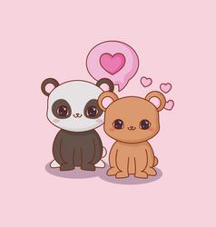 kawaii animals and love vector image