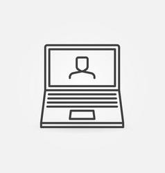 Laptop video conference line icon webinar vector