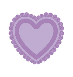 Lilac color heart shape with decorative frame vector