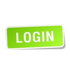 Login green square sticker on white background vector