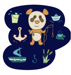 lovely hand-drawn panda the fisherman with a rod vector image