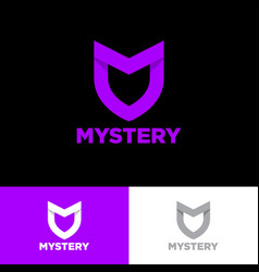 M letter mystery shield origami purple ribbon vector