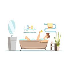 man taking bath in bathroom vector image