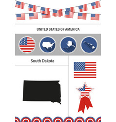 Map of south dakota set of flat design icons vector