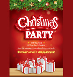 merry christmas party and greeting card with gift vector image