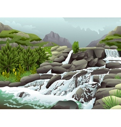 Mountain river with waterfalls in cloudy weather vector