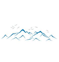 Mountains with birds vector