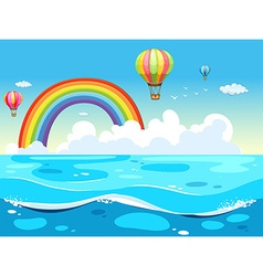 Ocean and rainbow vector image