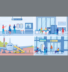 people go on trip and meet relatives in airport vector image