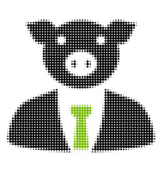 Pig boss halftone icon vector