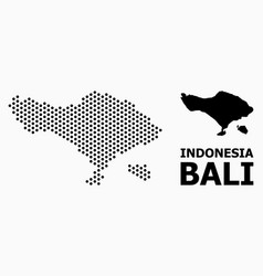 Pixelated mosaic map bali island vector